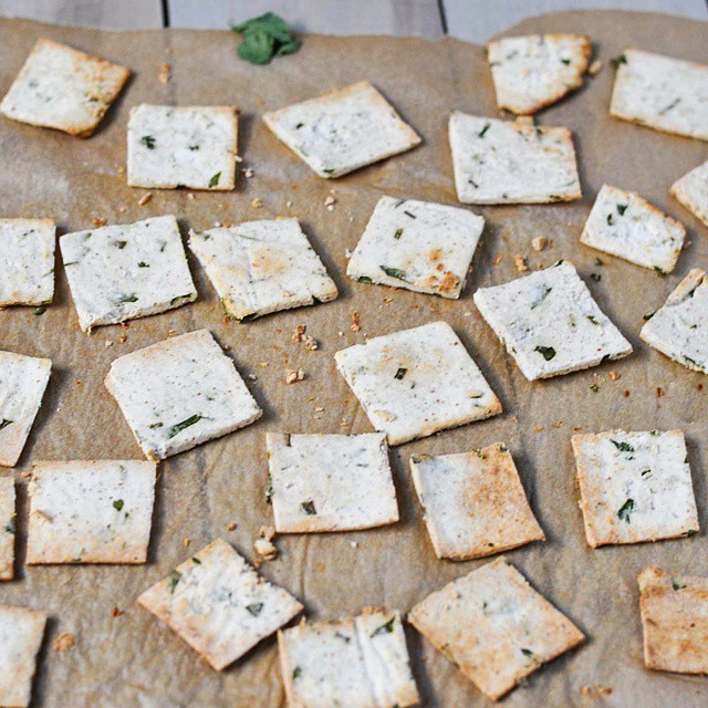 Almond Pulp Tahini And Herb Crackers