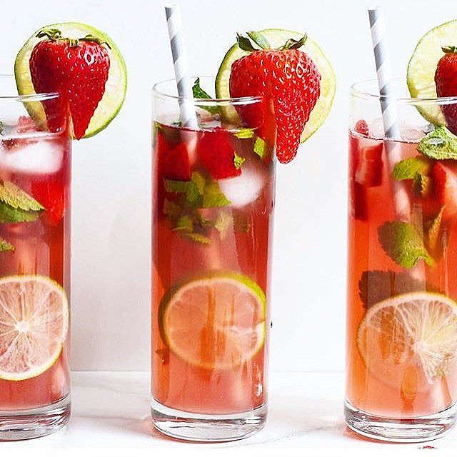 Friday's call for Strawberry Lime Kombucha Mojitos! Made alcoholic or not!