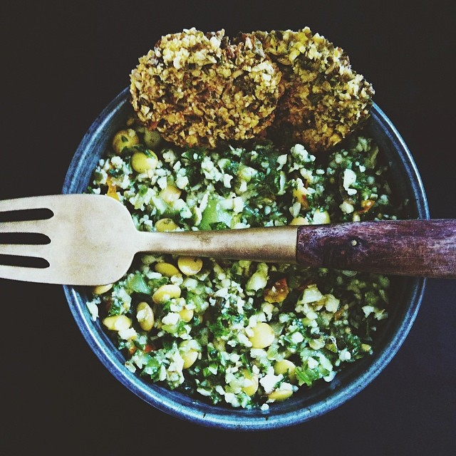 Raw Cauliflower Tabouleh With Parsley, Cilantro, Mint & Lentils