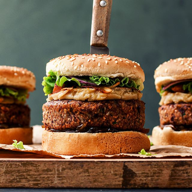 Red Bean Burgers With Caramelized Shallots