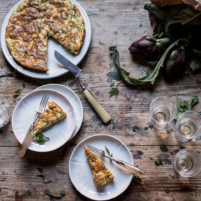Buscandoli And Pecorino Frittata With Roman Chicory Salad In Anchovy Dressing