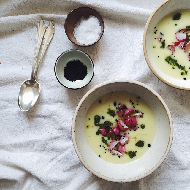 Kohlrabi Coconut Soup With Crispy Roasted Radishes, Nigella Seeds, And Fresh Cilantro Gremolata