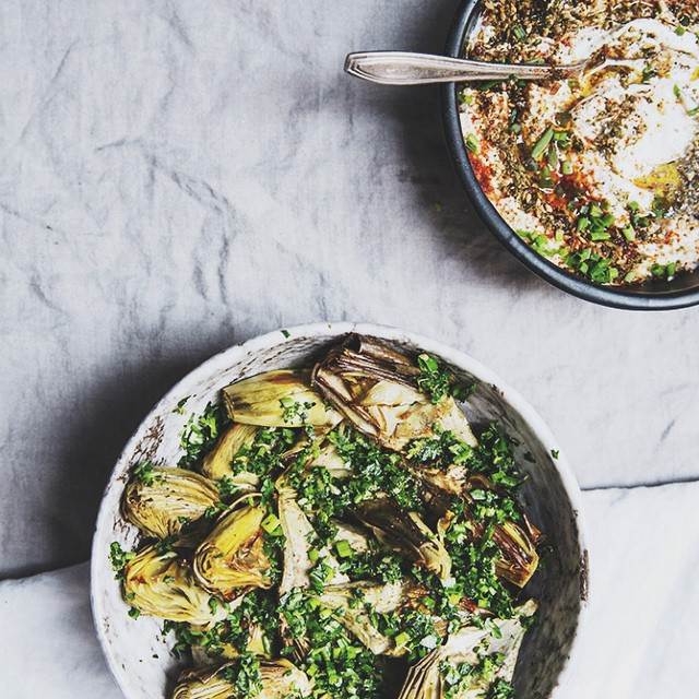 Roasted Baby Artichokes With Gremolata And A Lemon Za'atar Yogurt