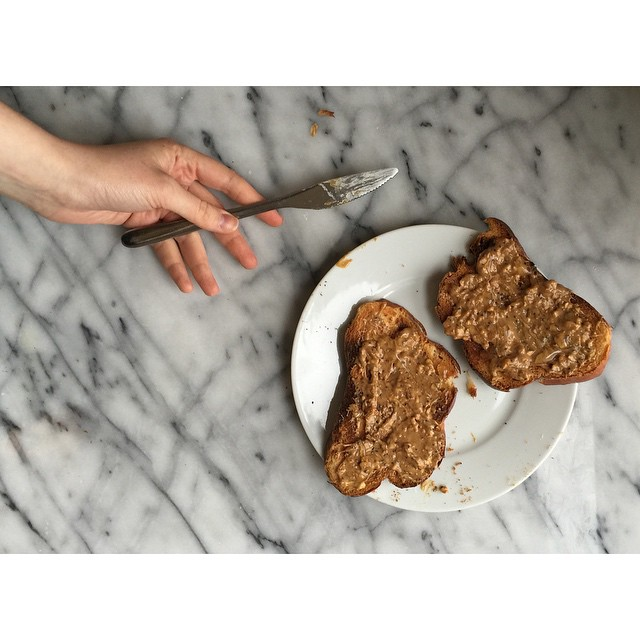 Challah Toast With Flax, Chia Seed Peanut Butter & Honey