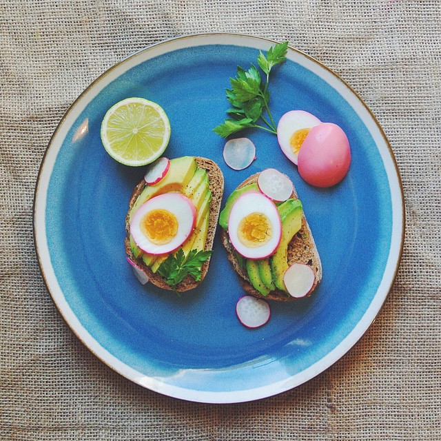 Beetroot Pickled Eggs + Avocado Rye Toast