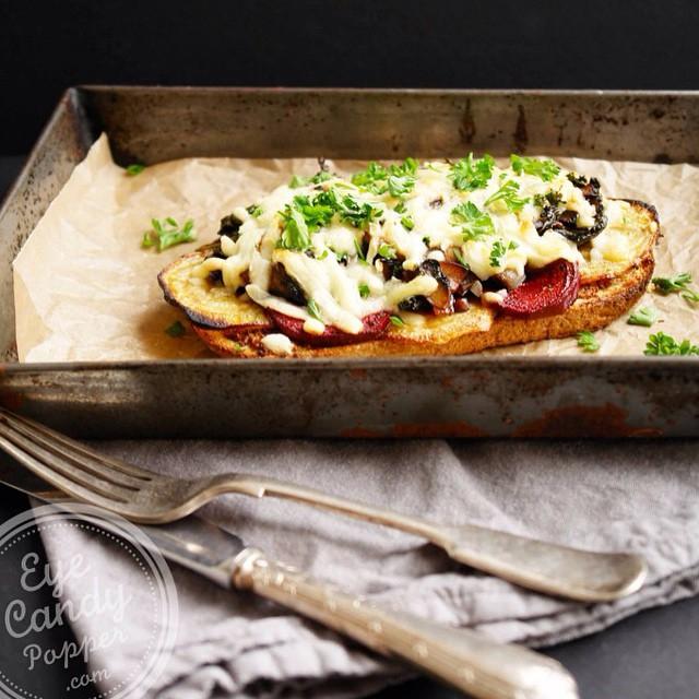 Balsamic Mushroom Toast With Grain Mustard And Roasted Beet
