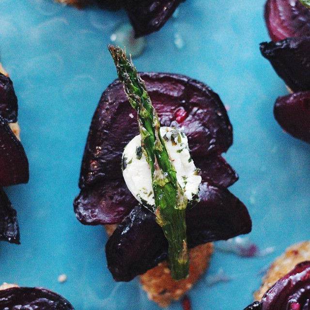 Lavender Honey Asparagus, Beet, & Chevre Crostini