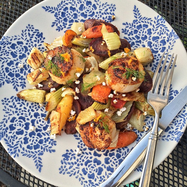 Smoky Seared Scallops With Roasted Fennel, Rainbow Carrots And Popped Sorghum