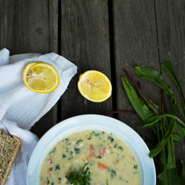 Creamy Spring Chicken Soup With Dandelion Greens