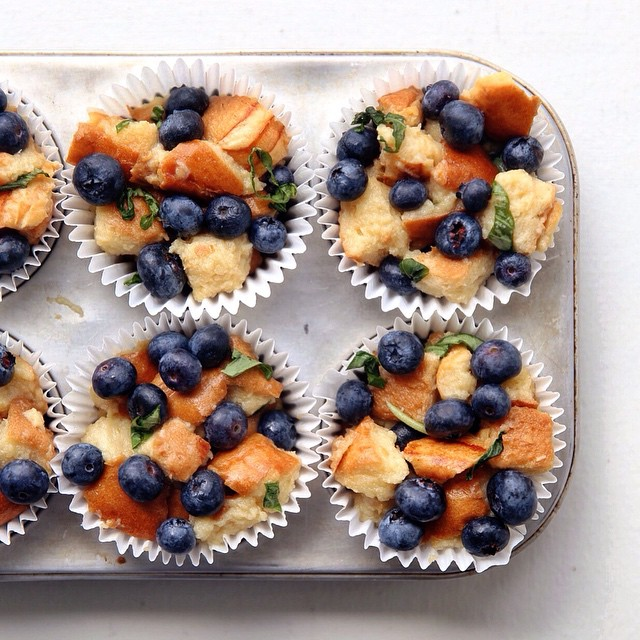 Blueberry Basil French Toast Cups With White Maple Icing
