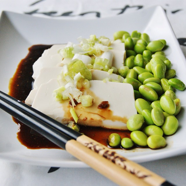 Silken Tofu With Soy Dressing And Edamame