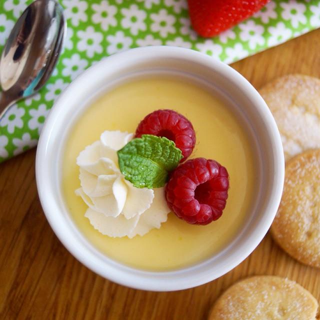 Lemon Creams With Berries & Shortbread