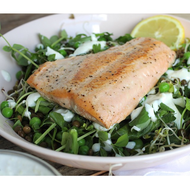 Pan Seared Salmon With Horseradish And Pea Salad