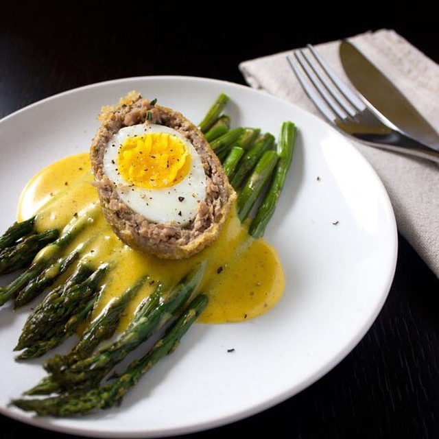Roasted Asparagus With Scotch Egg And Sriracha Mustard Hollandaise