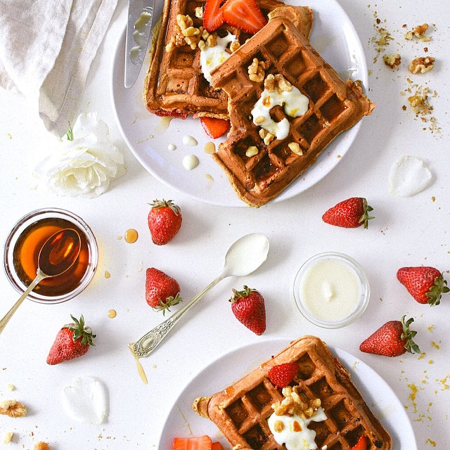 Strawberry And Rose Water Waffles With Maple Toasted Walnuts