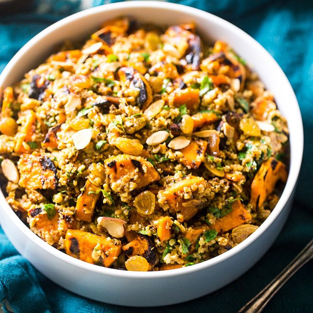 Grilled Sweet Potato Salad With Cauliflower Rice And Curry Almond Butter Vinaigrette