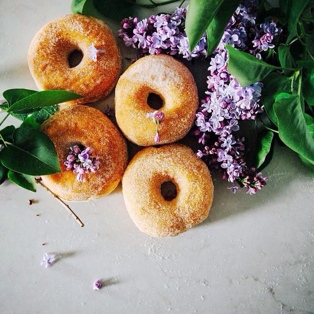 Lilac Sugar Brioche Doughnuts