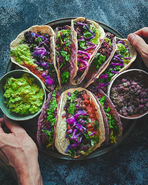 Spicy Rice And Black Bean Tacos With Chipotle Crema