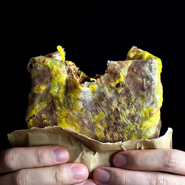 Crepe-style Marbled Fried Egg With Herbed Lamb & Chili Sauce (jian Bing)