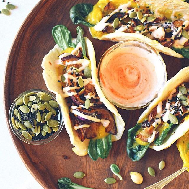 Miso Eggplant & Kabocha Squash Tacos