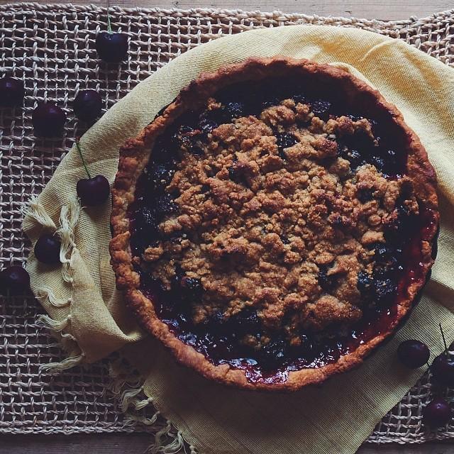 Cornmeal Streusel Cherry Pie