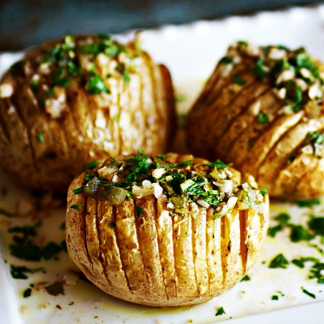 Chimichurri Hasselback Potatoes With Fresh Lime