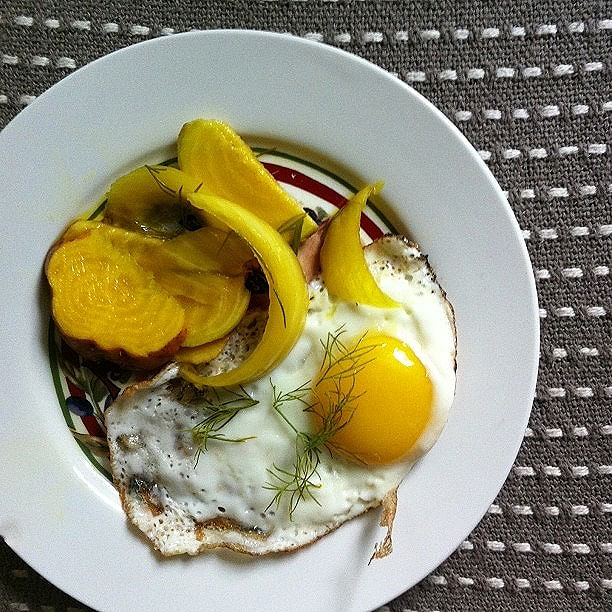 Home-pickled Onion + Golden Beet + Fried Egg With