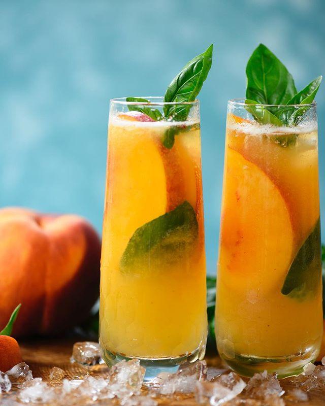Peach Basil Vodka Fizz