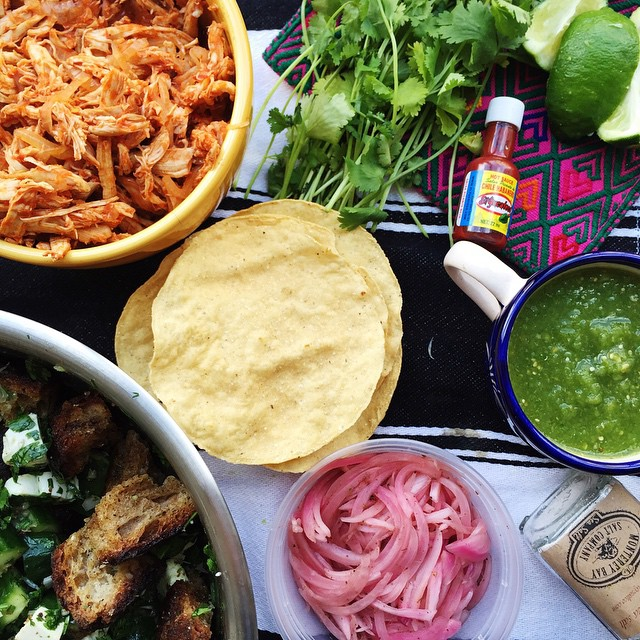 Mexican Panzanella & Chicken Tinga Tostadas With Persian Cucumbers