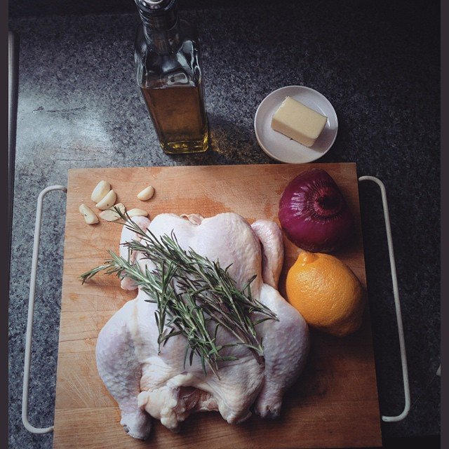 Rosemary Roasted Chicken In White Wine With Fresh Thyme