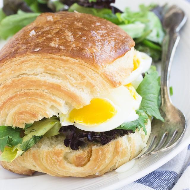 Bacon Fat Croissant Breakfast Sandwich