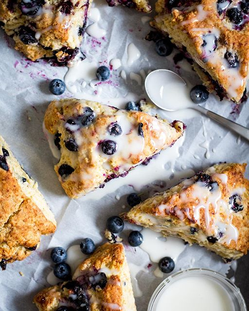 Blueberry scones with vanilla glaze. I think this'll be a new weekend staple of mine, they turned…