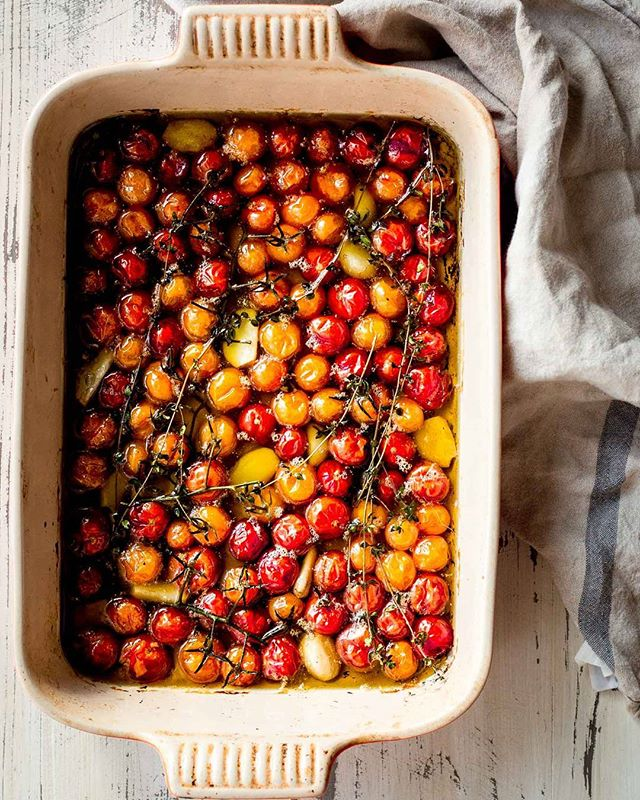 Cherry Tomato Confit for the win! We're still harvesting hundreds of pounds of tomatoes and this…