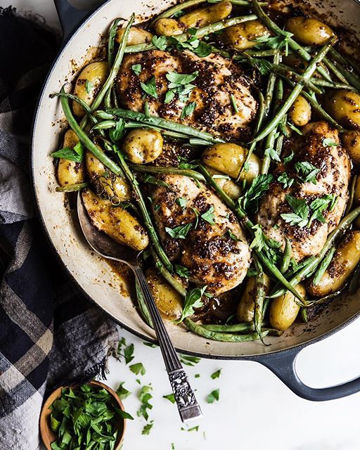 One Pan Honey Mustard Chicken With Potatoes And Green Beans