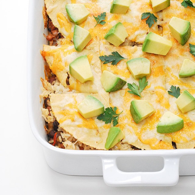 Mexican Lasagna With Black Beans, Red Peppers And Avocado