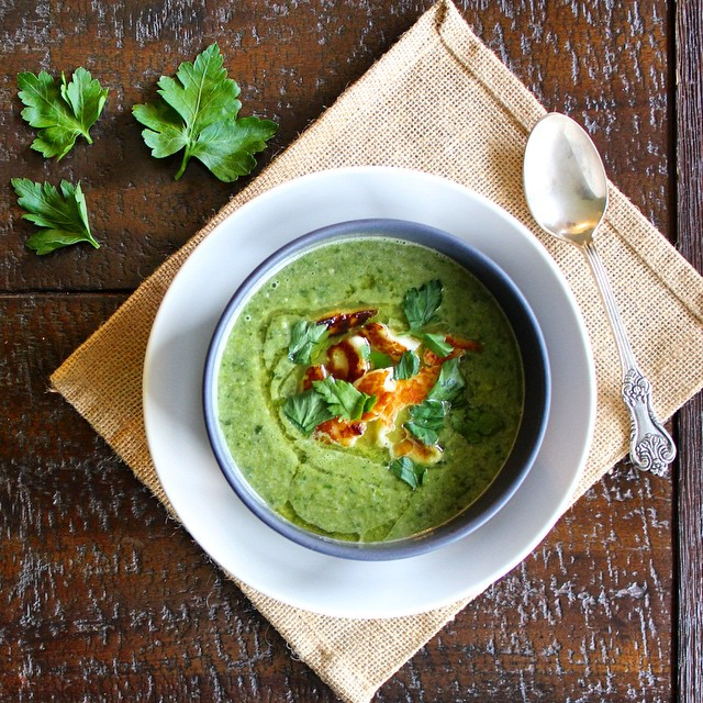 Green Pea Soup With Halloumi Fritters