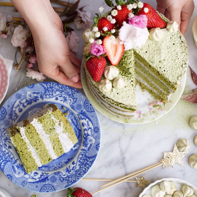 Matcha Chiffon Cake With Cream Cheese And Black Sesame Frosting