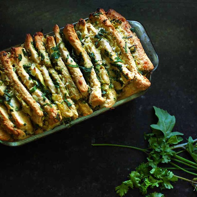 Quick (ish) no yeast pull apart bread stuffed with artichokes and spring greens. Yup this is what I…