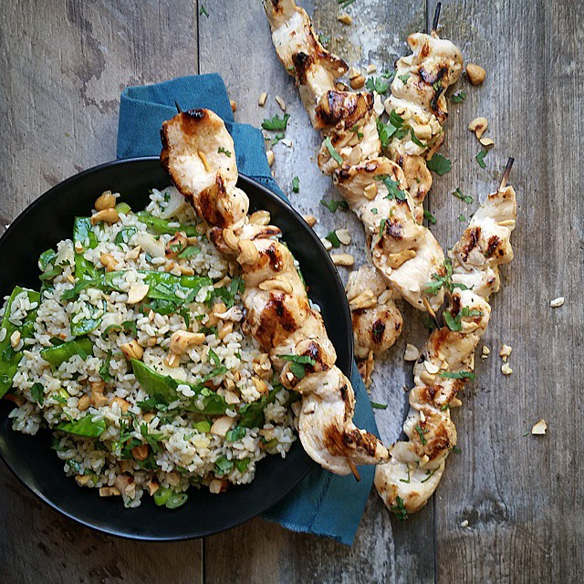 Grilled Chicken Skewers With Snow Peas & A Brown Rice & Chestnut Salad