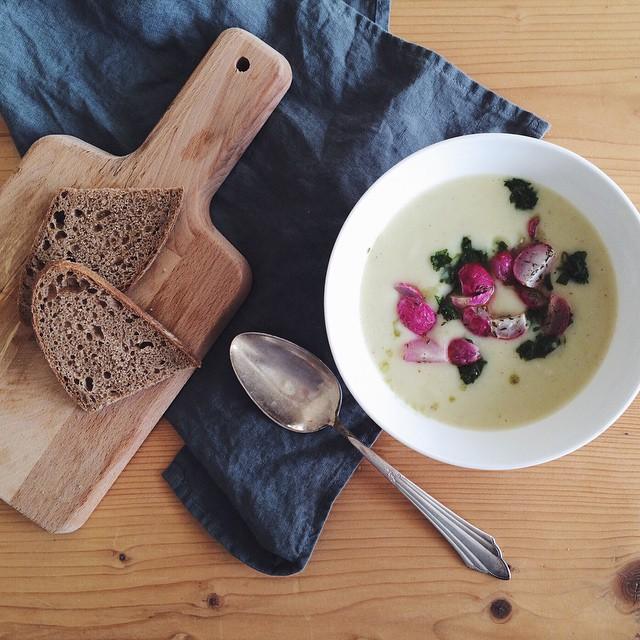 Kohlrabi Coconut Soup W/ Crispy Roasted Radishes, Nigella Seeds + Cilantro Gremolata