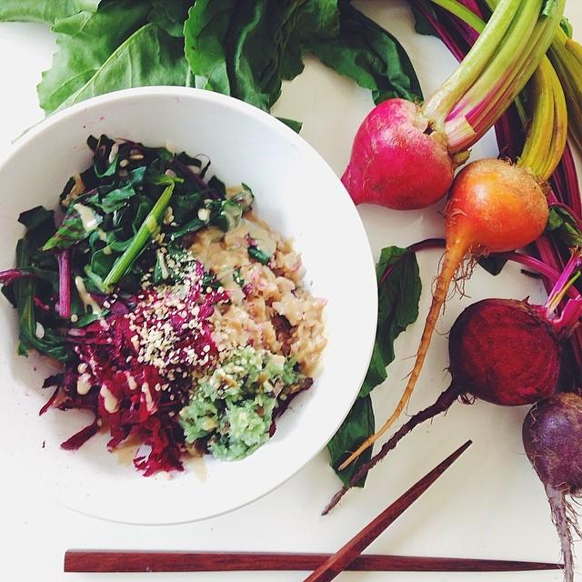 Brown Rice Veggie Bowl With Sauerkraut, Avocado & Miso Tahini Sauce