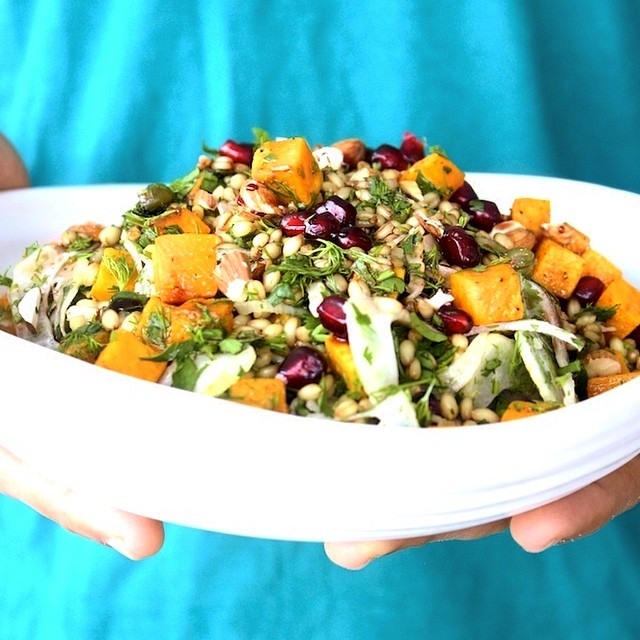 Wheat Berry & Butternut Squash Salad With Pomegranate Molasses