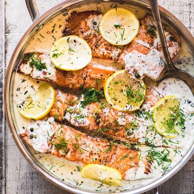 Creamy Lemon Dill Salmon ~ an easy dinner that never fails to please.  The salmon is succulent…