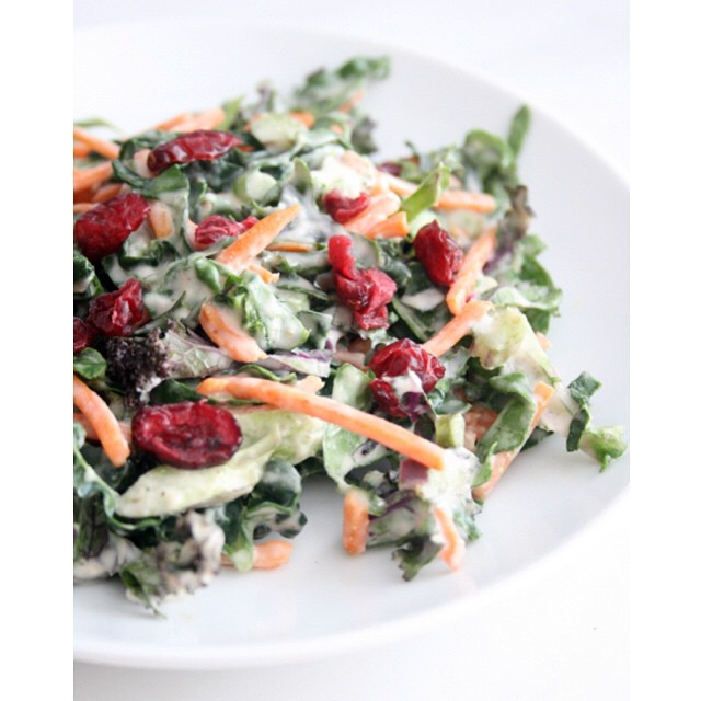 Shredded Kale Salad With Creamy Tahini Dressing