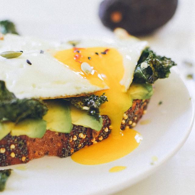 Spicy Fried Egg & Crispy Kale Breakfast Sandwich