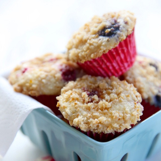Cheesecake & Triple Berry Streusel Muffins