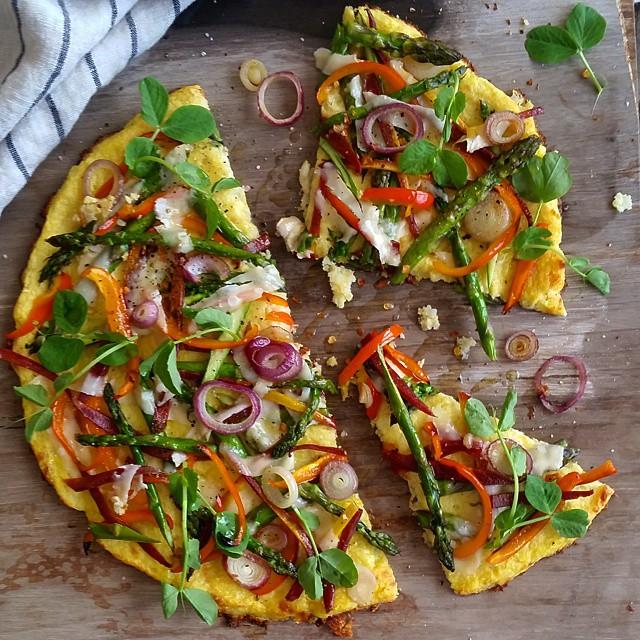 Cauliflower Crust Spring Pizza