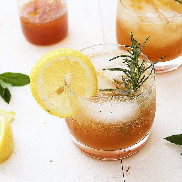 Peach And Mint Bourbon Cocktail