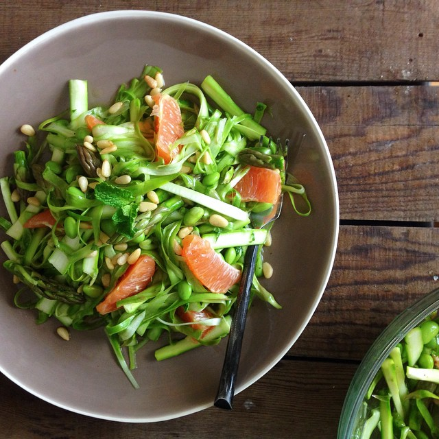 Shaved Asparagus Citrus Salad With Edamame & Pine Nuts