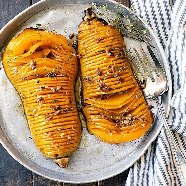 Maple Roasted Hasselback Butternut Squash With Pecans